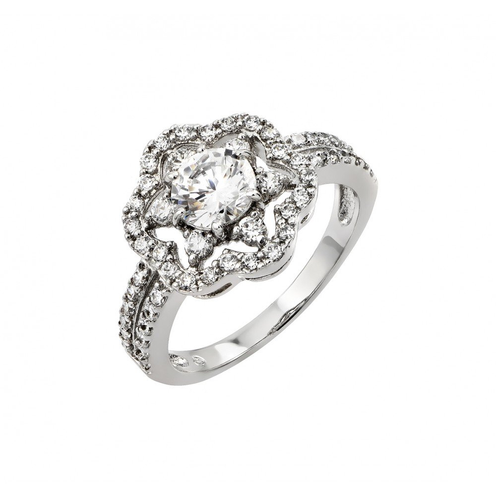Princess Kylie Clear Round Cubic Zirconia Center Flower Designer Ring Rhodium Plated Sterling Silver
