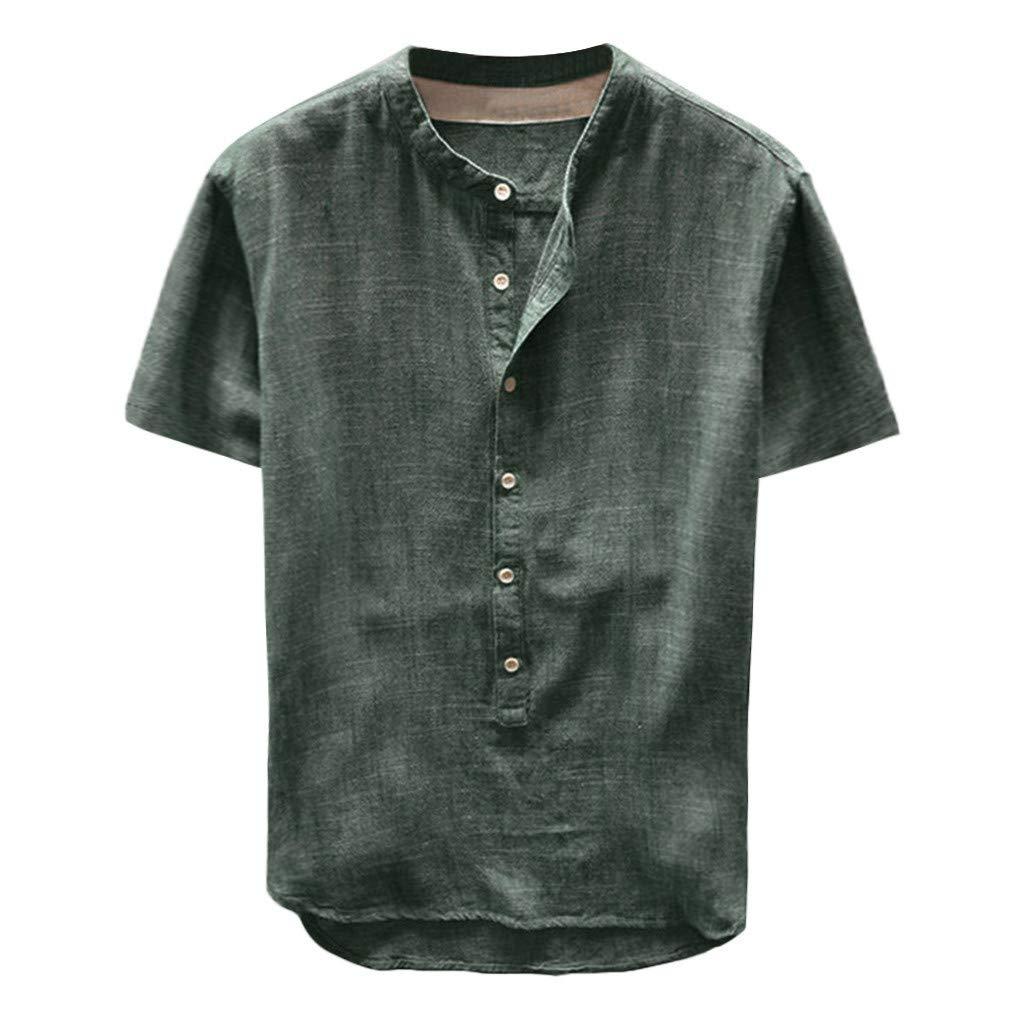 Casual Tops,Fashion Men's Summer Button Casual Linen and Cotton Short Sleeve Top Blouse,Green,2XL