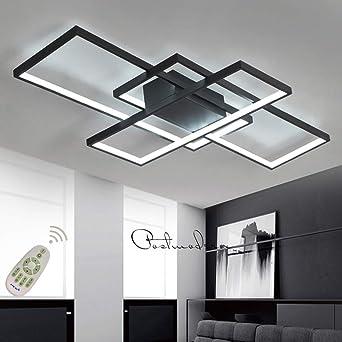 Moderna lámpara LED de techo para salón, regulable, pantalla de acrílico, lámpara de techo de diseño cuadrado, lámpara de comedor con mando a
