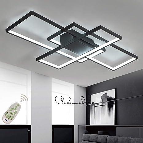 Moderna lámpara LED de techo para salón, regulable, pantalla de acrílico, lámpara de techo de diseño cuadrado, lámpara de comedor con mando a ...