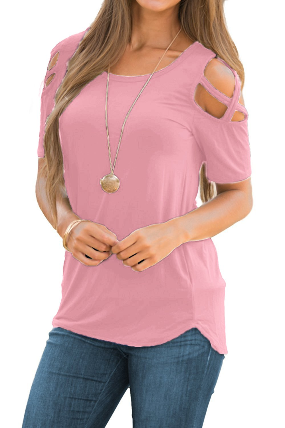 Uniboutique Womens Fashion 2018 Loose Criss Cross Cold Shoulder Short Sleeve T Shirts Tops Blouses for Juniors Pink Large
