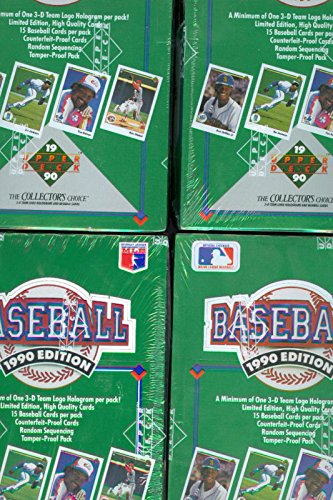 Vintage Unopened Box (4X 1990 Upper Deck baseball Card Wax Pack Box Collection ~ Complete Set)