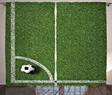 Sports Decor Collection Soccer Ball in Corner Kick Position Football Field Top View Grass Lawn Terrain Image Living Room Bedroom Curtain 2 Panels Set Green White