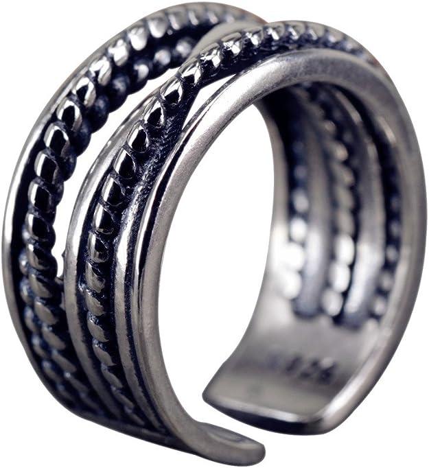 Nico de plata anillo alambre Anillo Vintage Plata 925 Ajustable para Mujer Anillos Mujer Joyas sri216: Amazon.es ...