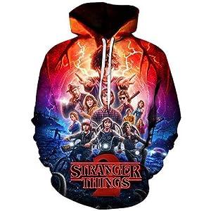 PONGONE Stranger Things 3D Hoodies Trendy Pullover Hooded Sweatshirt with Big Pocket