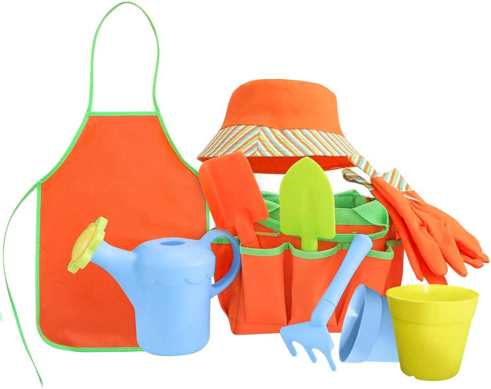 Sporgard Kids Garden Tools Set with Sun Hat, Gloves, Apron, Storage Bag, Watering Can, 2pcs of Pots and 3pcs of Tools for Real Gardening or Sand Outdor Play and Dress up Clothes or Role Play