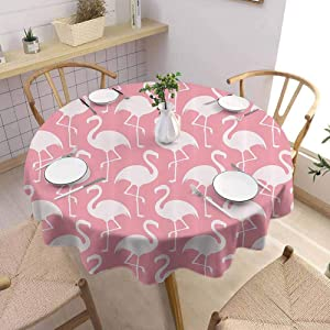 Flamingo Decor Collection Tablecloth - 60 Inch Round Tablecloth Home Flamingo Shape Outline Big Birds Caribbean Decorative Artful Illustration Image Suitable for Indoor and Outdoor use Pink and White