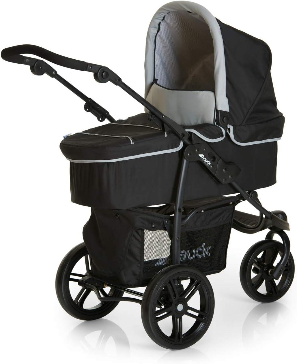 silla de auto gr ligero plegable compacto Carro deportivo 3 ruedas manillar ajustable en altura respaldo reclinable 0 meses a 25 kg Hauck Viper SLX Trio Set negro gris capazo con colchon
