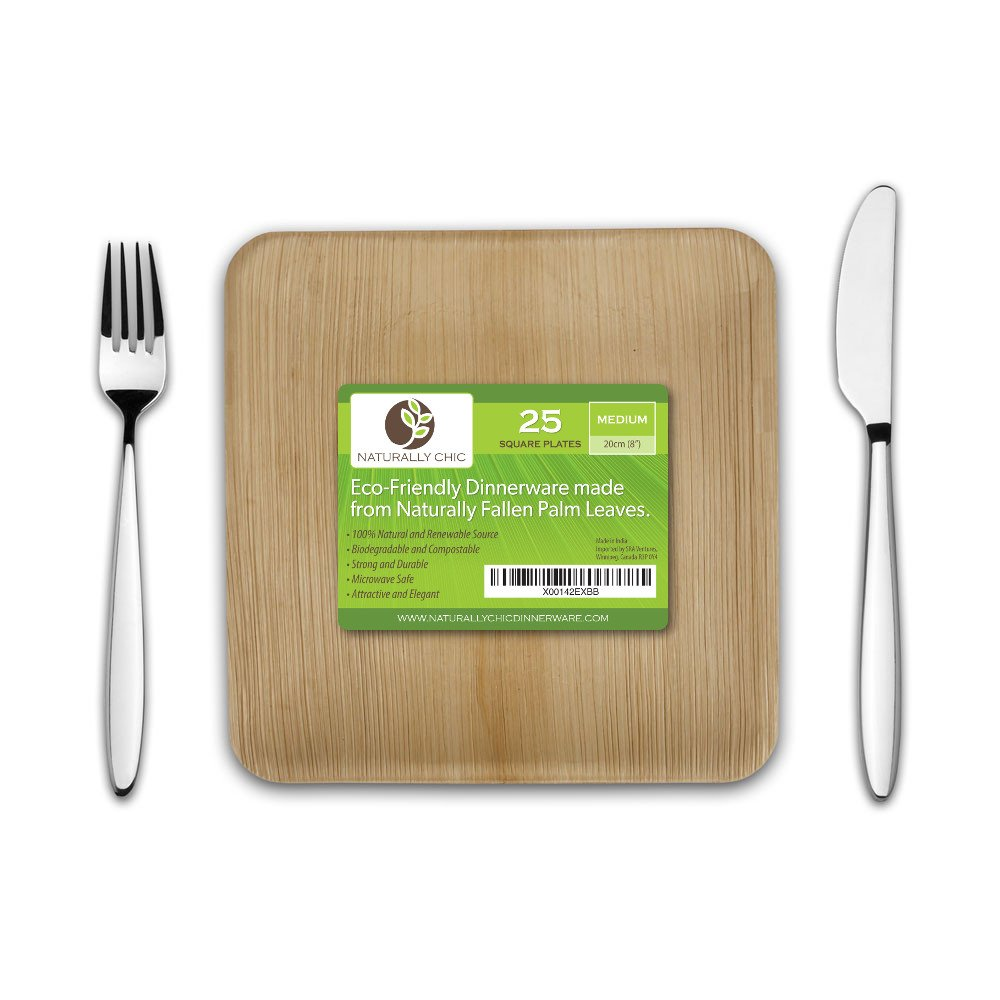 """Naturally Chic 8"""" Square Disposable Palm Leaf Plates - 25 Pack - Small Dinnerware Set - Eco-Friendly, Biodegradable & Compostable - Ideal for Weddings, Parties, Home Use, Events"""
