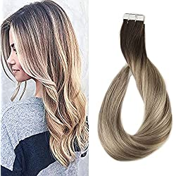 Full Shine 14 inch Tape in Hair Extensions Human Hair Ombre Balayage Hair Color Dark Brown Roots Color #3 Fading to #8 and #22 Blonde Highlighted Extensions 20 Pcs 50gram