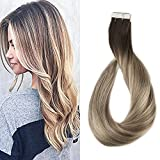 Cheap Full Shine 20 inch Tape in Hair Extensions Human Hair Balayage Tape Hair Extensions Color #3 Dark Brown Fading to #8 and #22 Blonde Highlighted Glue Extensions 50g Per Pack