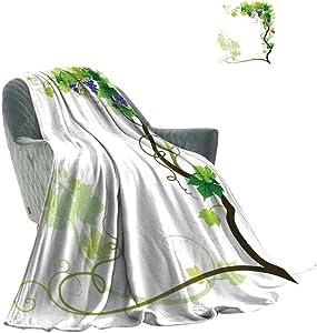 Yahonwa Grapes Home Decor Soft Throw Blankets, Vineyard Frame with Swirled Fresh Cluster Garden Plants Lush Design Winter Warm Lightweight Fleece Blankets, 60