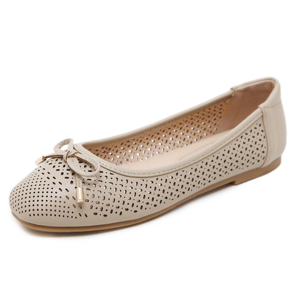Meeshine Women Dress Soft Bow Cut Perforated Slip On Ballerina Flat Shoes (7 B(M) US, Apricot)