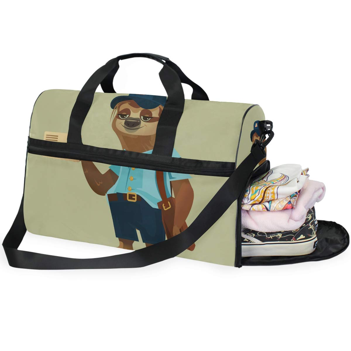 Gym Vacation Travel Duffel Bag Lazy Sloth Postman Animal Fun Waterproof Lightweight Luggage bag for Sports