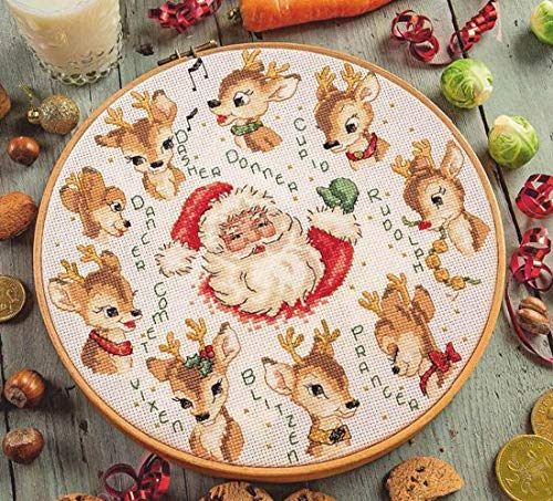 Santa and Deer Counted Cross Stitch Kits Egyptian Cotton Floss, 14ct 140x140 Stitch 35x35 cm Counted Cotton Cross Stitch