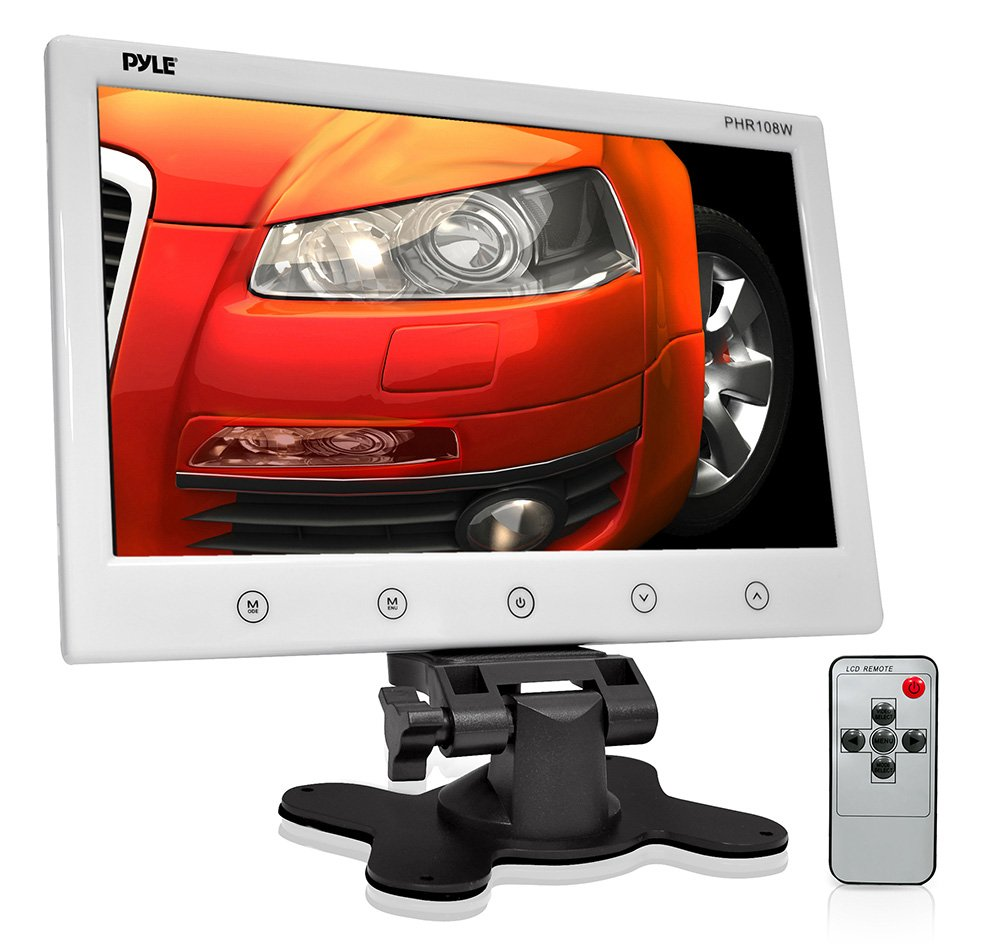 Pyle PHR108W 10-Inch LCD Hi-Resolution Display Monitor with Detachable Shroud Housing Bracket, RCA Connectors, Easy Touch Button Controls, for Custom Applications & Installations (White)