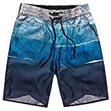 DORIC 2019 Men's Sweatpants Elastic Waistband Summer Shorts Sports Work Casual Printed Beach Shorts Pants Trousers Blue