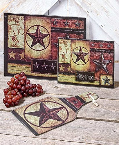 The Lakeside Collection 3-Pc. Glass Country Star Cutting and Cheese Boards set