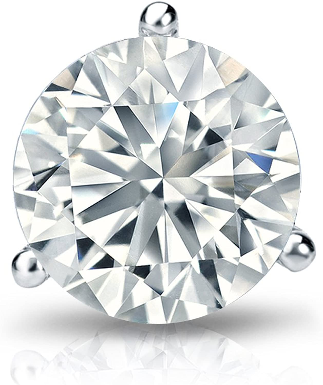 screw back 1//8 cttw, H-I, I1-I2 14k White Gold 3-Prong Martini Round Diamond SINGLE STUD Earring