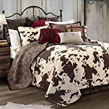 HiEnd Accents QW3067-FQ-OC Elsa Cowhide Cow Print Quilt Set, Full/Queen