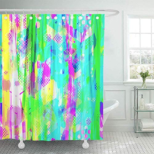 LLuotryce Bath Curtain, Shower Curtain Blue Rainbow from Stripes Stains Blotches Dots Arrows Urban Abstract Girls Decorative Waterproof Polyester Fabric Bathroom Shower - Barn Drapes Embroidered Pottery