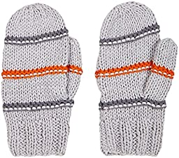 2H Hand Knits Baby Boys\' Striped Mittens  - Smoke/Pewter/Carrot - S (12-24M)