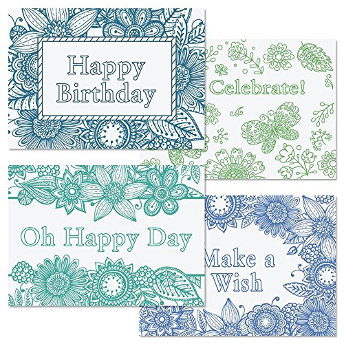 Coloring Birthday Cards - Set of 8 (2 of each)