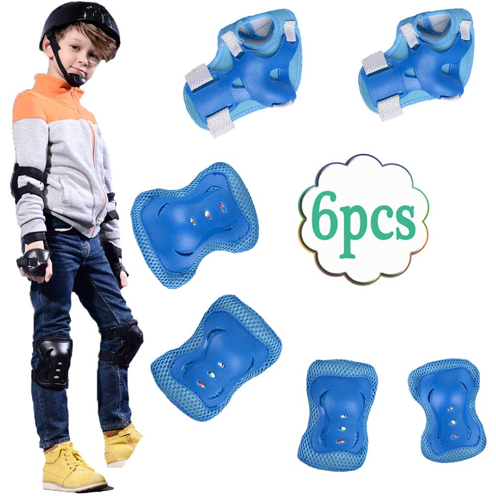 UOFEIVS Kid's Inline Skating Roller Blading Wrist Elbow Knee Pads Guards Protective Gear Set for Rollerblade Roller Skates Cycling BMX Bike Skateboard Inline Skatings Scooter Riding Sports (Blue) by UOFEIVS