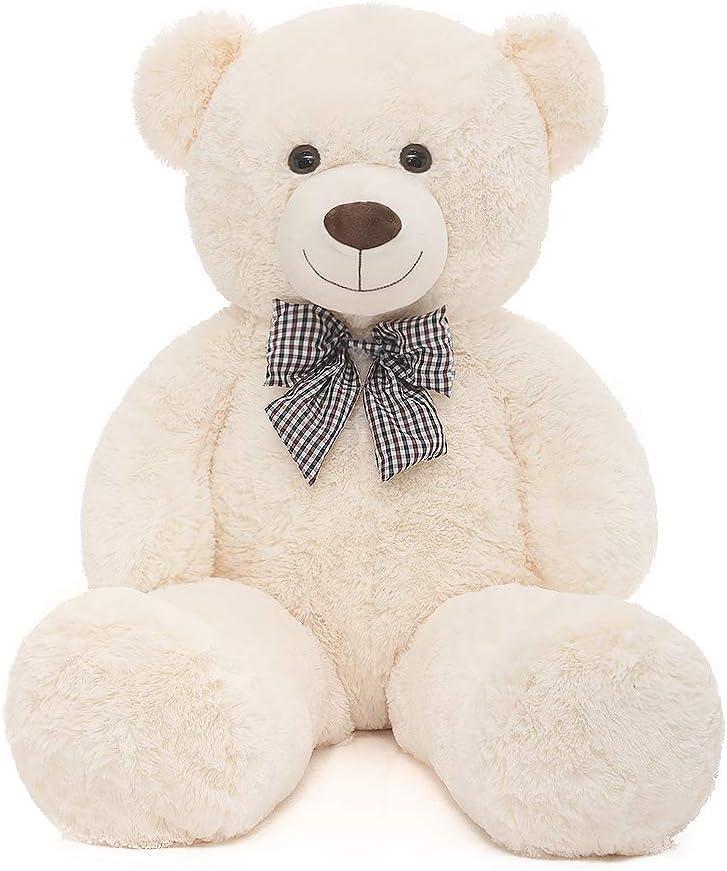 MaoGoLan 39'' Soft 100% Pp Cotton Toy Giant 100cm Big Cute White Plush Teddy Bear Huge by Lanna Siam