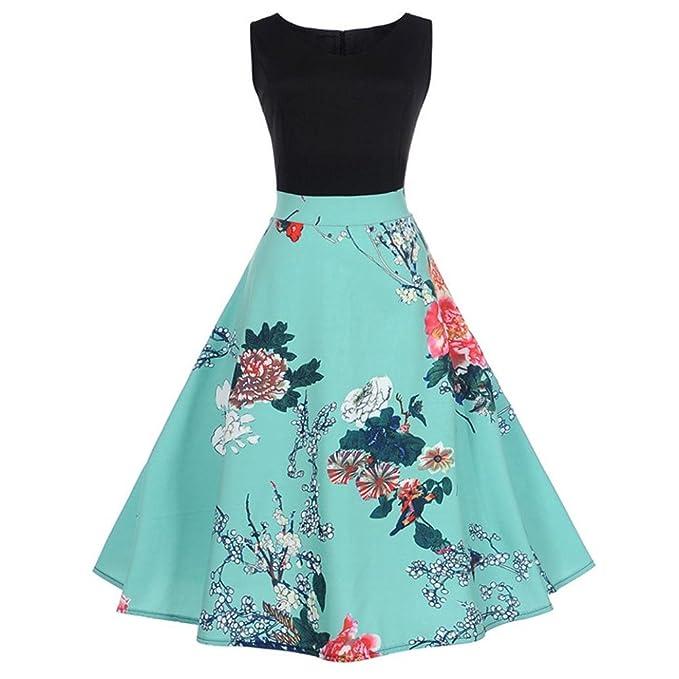 e1e0499cbe35 Kleid Damen Elegant Vintage 50er Kleid Ärmellos Rockabilly Swing Kleider  O-Ausschnitt Blumen Bodycon Plaid Kleid Retro Hepburn Kleid Schwingen Kleid  Btruely ...