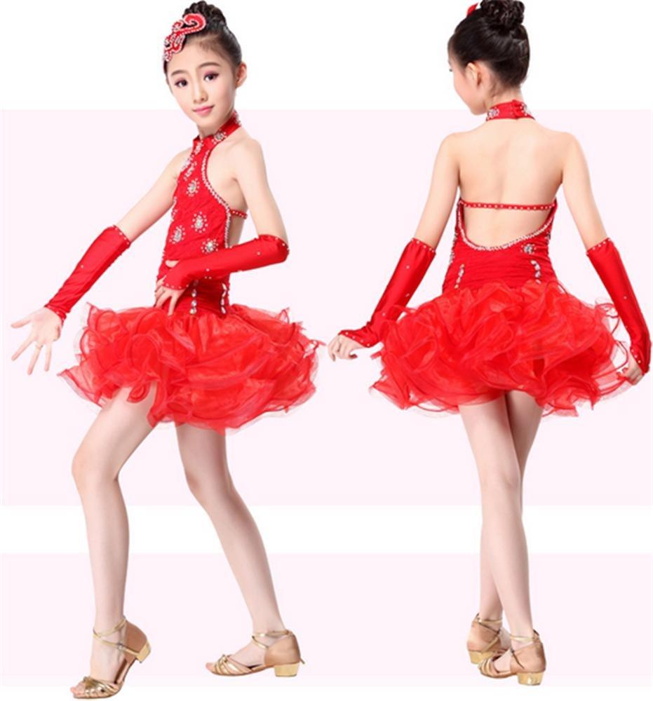 rouge M peiwen Robe pour Enfants de Fille Spectacle de Danse vêteHommests de Danse Latine