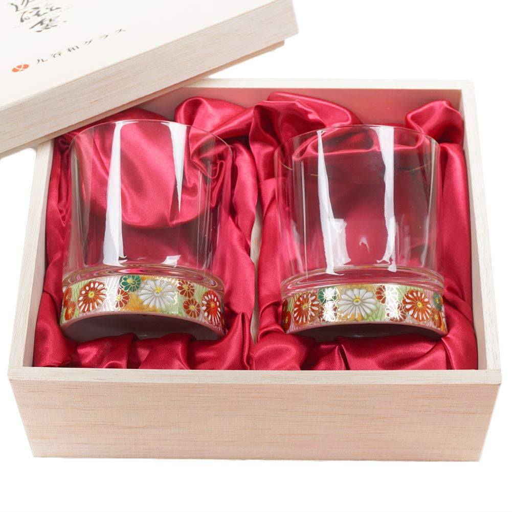 Set of 2 Japanese Kutani Porcelain & Crystal 9.4oz Rocks Glasses Kutaniwa Glass - Hand-painted Gold Flower Pattern & Gold Flower Pattern [Japanese Crafts Sakura]