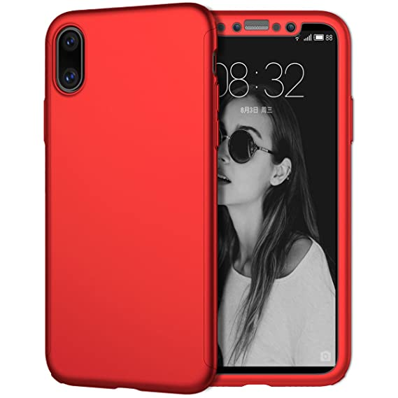 buy online d13f3 6eed0 iPhone X Case, Coocolor [Perfect Fit] 360 Degree All-around Ultra Thin Full  Body Coverage Protection Dual Layer Hard Slim Case + Tempered Glass Screen  ...