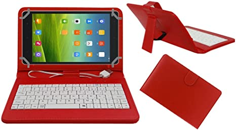 ACM USB Keyboard Tablet CASE Holder Cover Compatible with XIAOMI MI PAD 8 with Free Micro USB OTG   RED Bundles