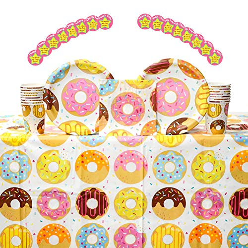 - Donut Time! Donut Themed Party Supplies Pack for 16 Guests | 16 Stickers, 16 Paper Dinner Plates, 16 Paper Luncheon Napkins, 16 Paper Cups, and 1 Table Cover | Donut Birthday Party Decorations