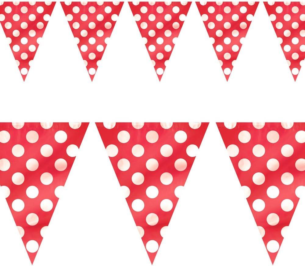 Unique Party- Banderines a lunares, Color rojo, paquete de 1 (10022): Amazon.es: Juguetes y juegos