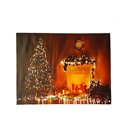 Led Light Up Christmas Canvas Pictures 30cm X 40cm Xmas Twinkling