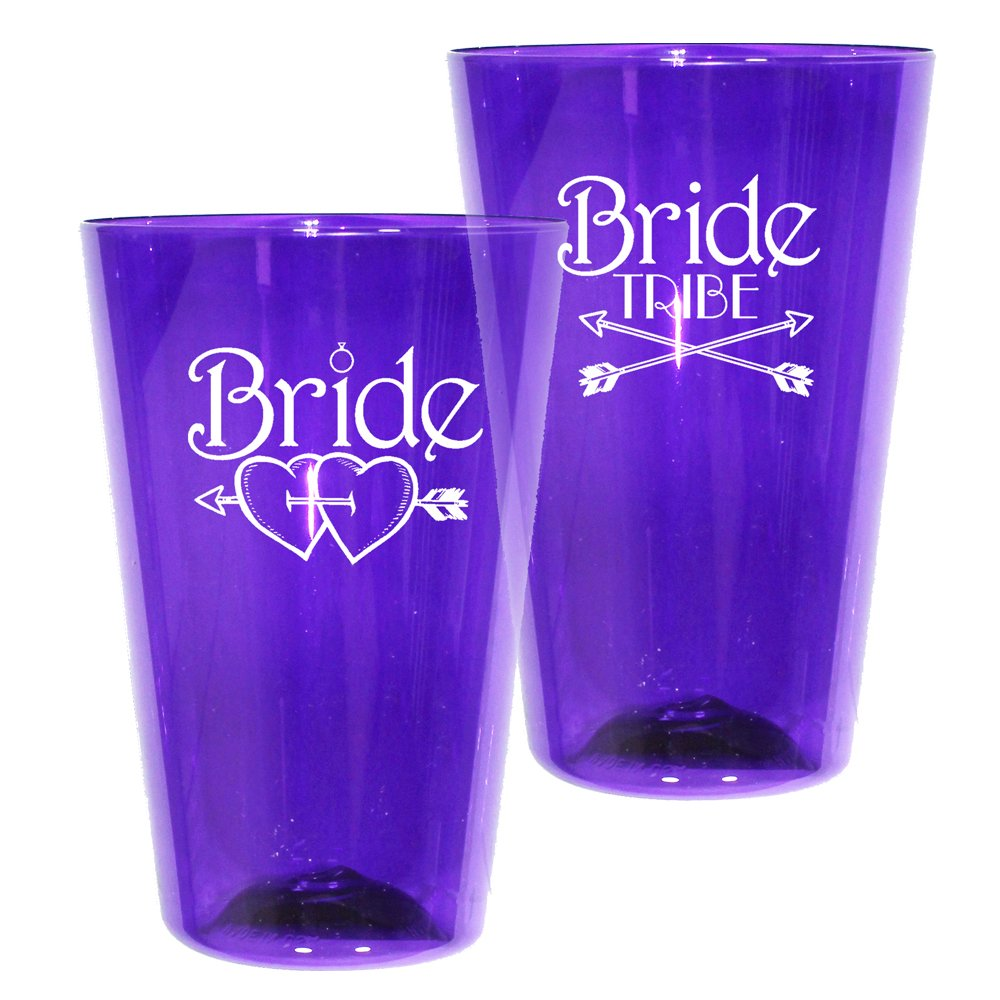 16oz Plastic Pint Glass – Bride Tribe Print for Bachelorettes – Shatterproof Tumbler, Set of 12, Translucent Purple by AAkron