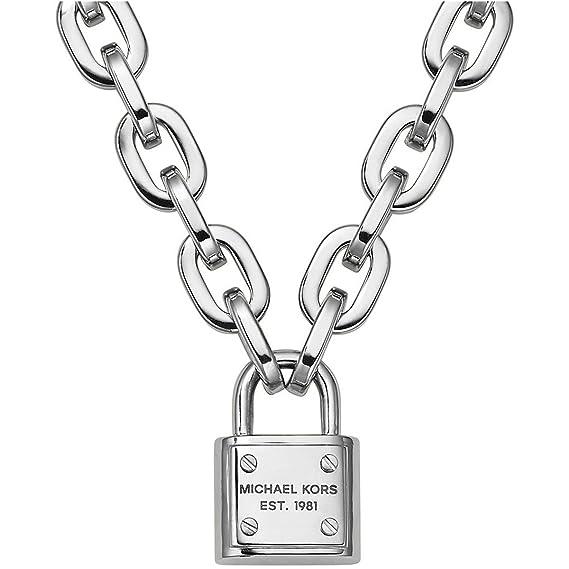 d6d702908c57d Michael Kors MKJ3326040 Women s Silver-Tone Logo Padlock Pendant Necklace   Amazon.ca  Watches