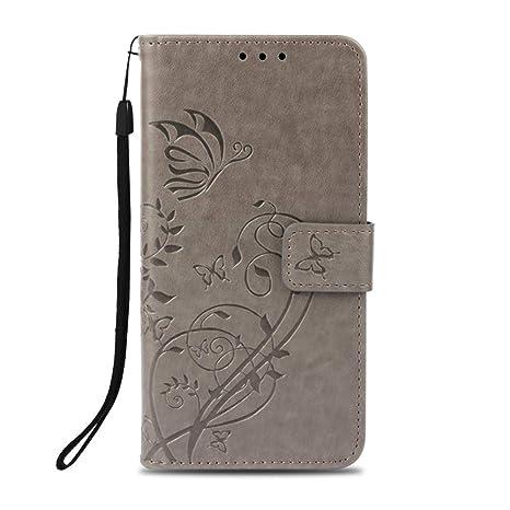 Unisnug Carcasas Tapa Funda Billetera para Xiaomi Redmi Note 5/5 Pro Fundas Dura Carasa Protector Xiaomi Redmi Note 5 y 5 Pro Cuero-Gris