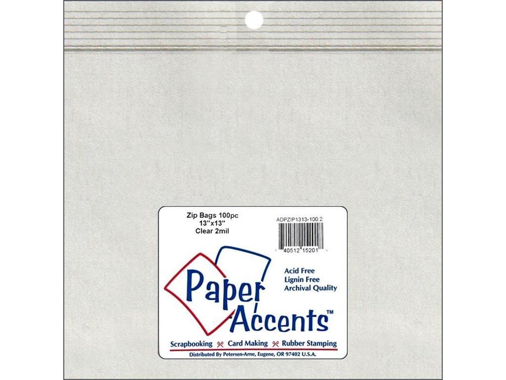 Accent Design Paper Accents Zip Bag 13x13 100pc Clear ZipBag13x13 2mil Clr