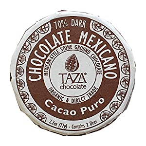 Taza Chocolate | Mexicano Disc | Cacao Puro | 70% Dark Chocolate | Certified Organic | Non-GMO | 2.7 Ounce (1 Count)