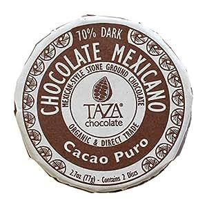 Taza Chocolate Mexicano Disc, 70% Dark Organic, Cacao Puro, 2.7 Ounce