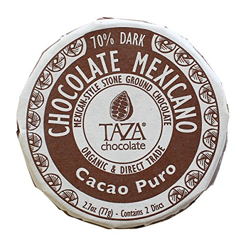 Taza Chocolate | Mexicano Disc | Cacao Puro | 70% Dark Chocolate | Certified Organic | Non-GMO | 2.7 Ounce (1 Count) - Coaster Chocolate