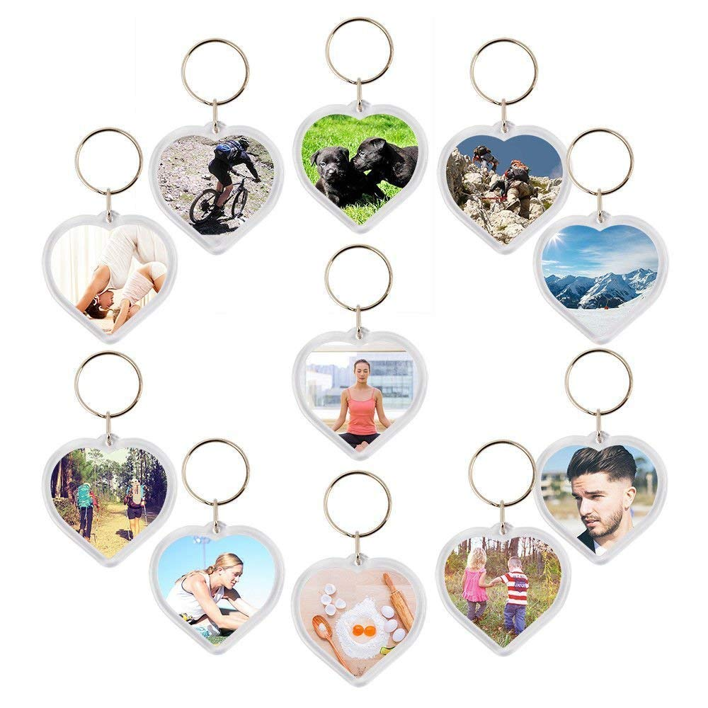 50 PC Photo Picture Insert Keychains ACRYLIC Plastic BLANK KEYRINGS Insert Photo Holder LOVE HEART Key Chain with Split Ring DIY Wedding Keyring Gifts Kurtzy MA-6041
