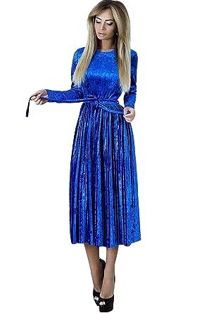 4d50eebab46e Robe Velours Vintage Style Empire Col Rond Femme Robe Mi-Long Manche Longue  en Velvet