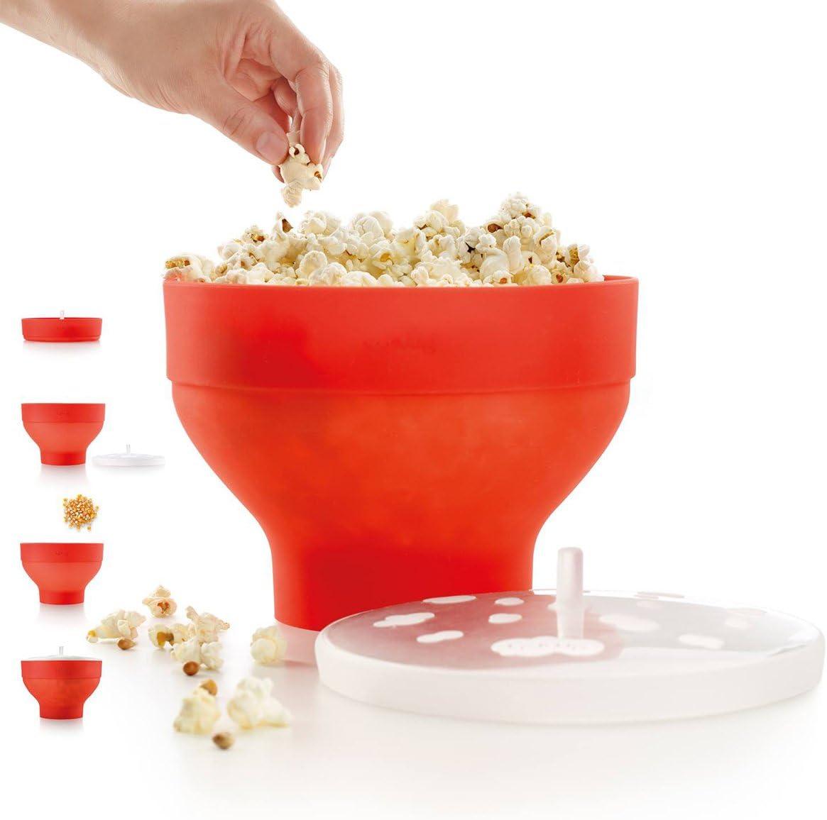 fabricant de pop-corn en silicone bol pliable avec couvercle Richard Bergendi PoPuP Popper de pop-corn /à micro-ondes avec poign/ées pratiques