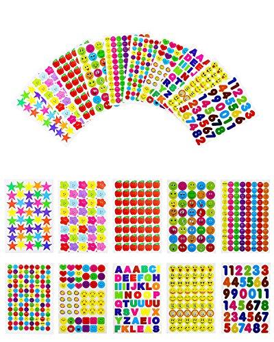 Heatoe 6070 PCS Teacher Reward Stickers,Kids Teacher Stickers Bulk,Smiley Faces Stickers,Stars Stickers,Emojis Stickers