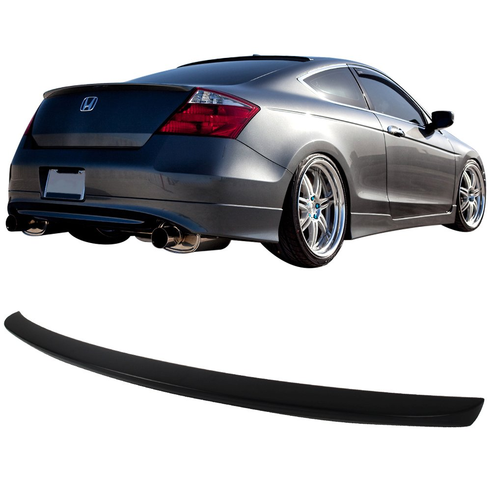 Trunk Spoiler Compatible With 2008-2012 Honda Accord Factory Style Unpainted Raw Material Black ABS Rear Tail Lip Deck Boot Wing by IKON MOTORSPORTS 2009 2010 2011