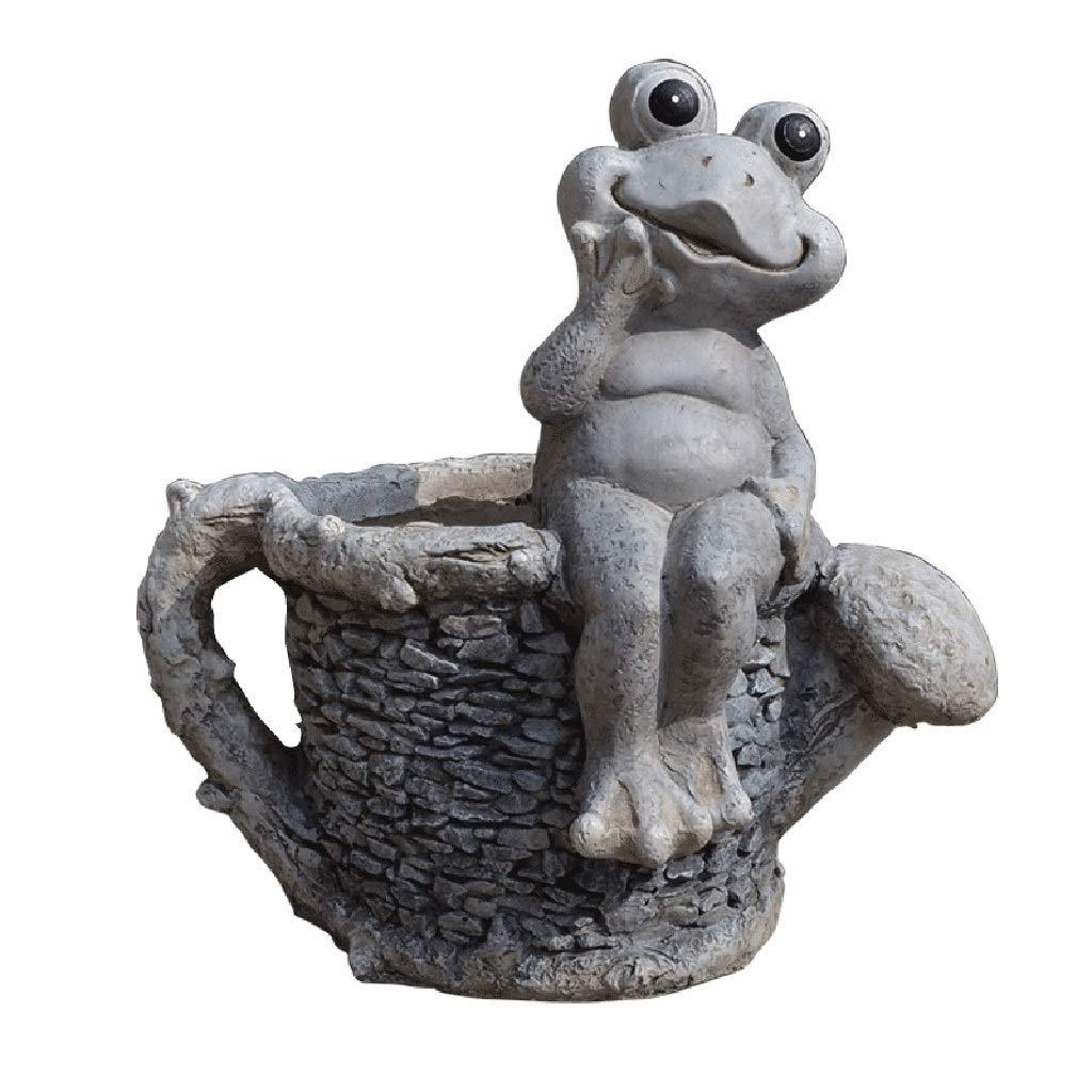 Accessories Garden Decoration Frog Flower Pot Sculpture Fleshy Flower Pot Decoration Lawn View (Color : Gray, Size : 454932cm)